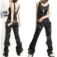 Mens Womens Black Heavy Metal Punk Rock Rave Clothing Pants SKU-11404009