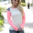 Coral and Ivory Long Sleeve Top