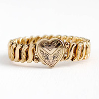Vintage Rosy Yellow Gold Filled Heart & Flower Locket Expansion Bracelet - 1940s Stretch Sweetheart Jewelry Carmen D.F.B. Co. Mary from Brad