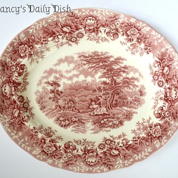 Vintage Red Transferware English Platter Romantic Victorian Picnic & Courtship w/ Roses Floral Border