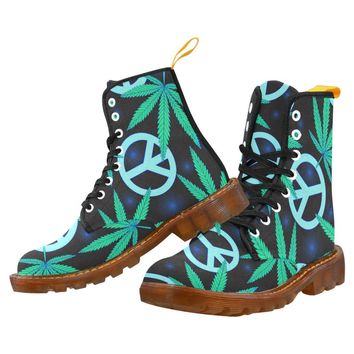 Cannabis Leafs and Peace Symbol Honey Martin Boots For Men
