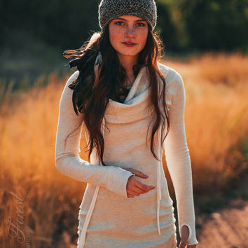 Thermal Hoodie Dress - with thumbholes ~ Elven Forest, Winter dress, Warm dress, Bohemian, Gypsy, Pixie Dress