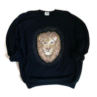 Quirky Crewneck - Black Glitter Lion Crewneck Sweatshirt - Gift for Him - Gift for Her - Funny Gift