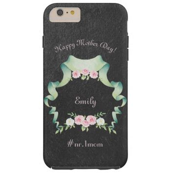 Watercolor Flowers Ribbon Mother's Day Monogram Tough iPhone 6 Plus Case