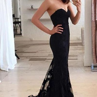 2016 Sexy Black Off the Shoulder Long Evening Dresses Sweetheart Sleeveless with Sweep Train Lace Prom Party Gowns vestidos