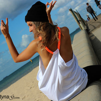 ORANGE BRAID drape side white TANK top tee tshirt  in a racerback backless braided casual summer style - By designer Justyna G