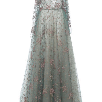 Tulle Embroidered Floral Ball Gown | Moda Operandi