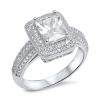 925 Sterling Silver CZ Simulated Diamond 12MM Radiant Halo Engagement Ring