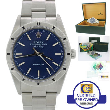 2003 Rolex Oyster Perpetual Air-King Blue 14000 34mm Precision Watch 14010M B&P