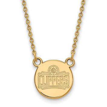 NBA Los Angeles Clippers Small Disc Pendant in 14K Yellow Gold