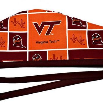 Men's Unlined Surgical Scrub Hat Cap in Virginia Tech Hokies