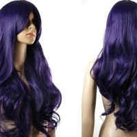 HealthTop Long Wavy Deep Purple (Deep Blue) Heat Resistance Cosplay Wig Anime Show & Fancy Dress Party & Performance Hair Full Wigs