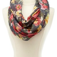 Floral Print Infinity Scarf by Charlotte Russe - Black Multi
