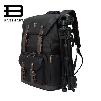 "BAGSMART Camera Backpack for SLR/DSLR Cameras & 15"" Macbook Pro with Waterproof Rain cover, Black"