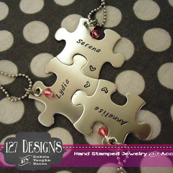 Personalized Puzzle Piece Necklace set of 3 w/ stone - Best Friends - Bridesmaids Hand Stamped
