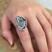 Druzy Agate Adjustable Ring-Silver
