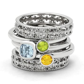 Sterling Silver Stackable Triple Solitaire Gemstone Ring Set