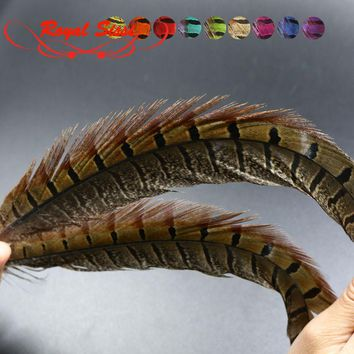 15pcs/set 6colors 40cm precious natural pheasant feathers black stripe feather  fly fishing tying material for Nymph bait flies