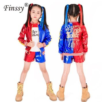 Suicide Squad Harley Quinn Jacket T-shirt Tee Underwear Daddy's Lil Monster Suicide Squad Cosplay Halloween Costume for kids Gir