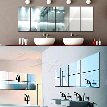 16Pcs Tiles Mirror Wall Stickers Mirror Decor Self-adhesive Decorative Mirrors