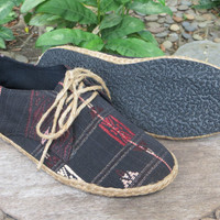 Vegan Mens Shoes, Sneakers, Lace Up Oxford In Black Tribal Naga Textiles