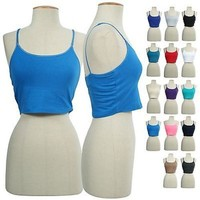 Solid Basic Adjustable Spaghetti Strap Built-In Bra Sports Athletic Cami  Cropped Tank Top