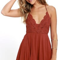 Star Spangled Rust Red Backless Lace Romper