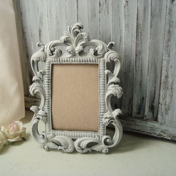 White Ornate 5 x 7 Picture Frame, Wedding Table Number Frame, Cottage Chic White Distressed Vintage Style Frame, Nursery Frame