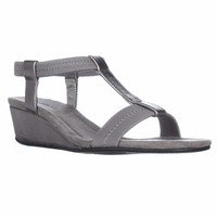A35 Voyage T Strap Wedge Sandals, Pewter Snake, 6.5 US
