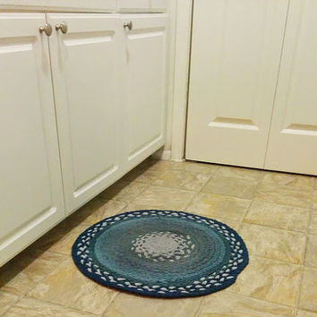 Blue Braided Rug, Blue and Grey, Braided Rug, Upcycled Tshirt Rug, Round Braided Rug, Blue Kitchen Rug, Braided Tshirt Rug, Handmade Rug