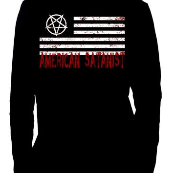American Satanist Bloody Flag Pentagram Long Sleeve T-Shirt Hail Satan Occult Clothing