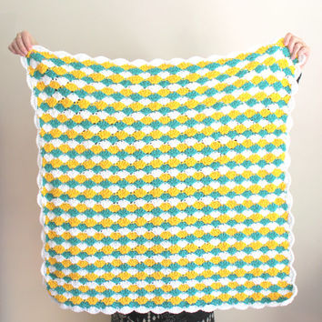 Crochet Baby Blanket, Baby Shower Gifts, Yellow Baby Blanket, Gifts for Babies, Crochet Baby Blanket Boy, Blue and White, Stroller Blanket