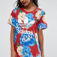 adidas Originals Big Floral Print Long T-Shirt