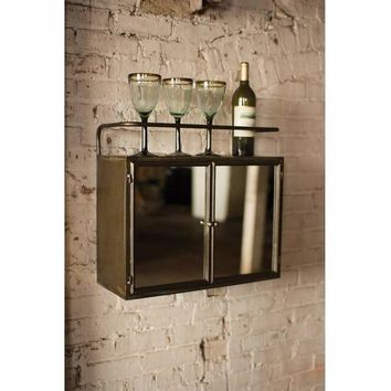 Metal Wall Cabinet With Double Mirror Door