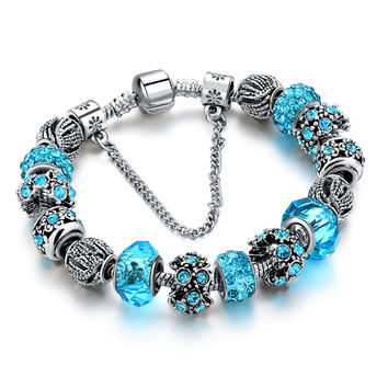 European Crystal Bead Charm Bracelet - Available in Various Colors