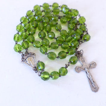 Vintage French, Rosary, Green, Shipping Included