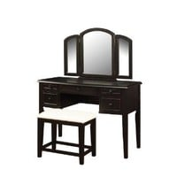 Powell Antique Black with Sand Through Terra Cotta Vanity Mirror and Bench