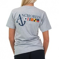 Nautical Flag Tee Shirt in Grey by Anchored Style