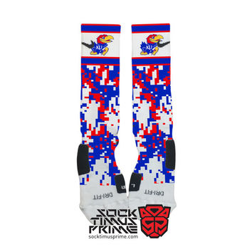 Custom Nike Elite Socks - Kansas Jayhawks Custom Nike Elites - KU Socks, Custom Elites, Jayhawks Socks, Kansas Socks, Kansas Basketball