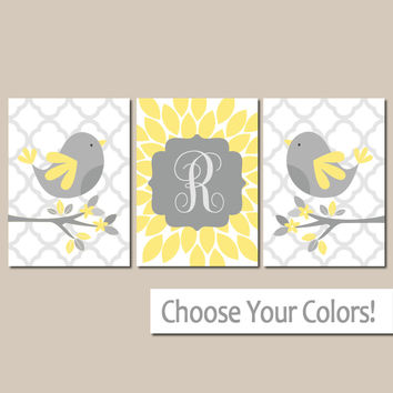 Yellow Gray Bird Nursery Wall Art, CANVAS or Prints Baby Name Girl Artwork, Girl Bedroom Pictures, Set of 3 Above Crib Decor