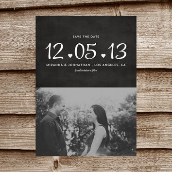 SWEET CHALK BOARD 5x7 Save The Date Photo Digital Invitation Announcement