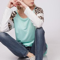 Cheetah Print Jersey Top in MINT