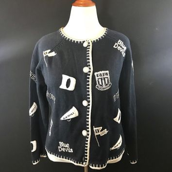 Ladies Castles Sport DUKE BLUE DEVILS Button-Up Sweater  Size XL
