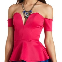 Off-the-Shoulder Plunging Sweetheart Peplum Top