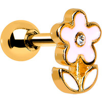 Crystalline Gem Gold Winsome Pink Flower Cartilage Earring | Body Candy Body Jewelry