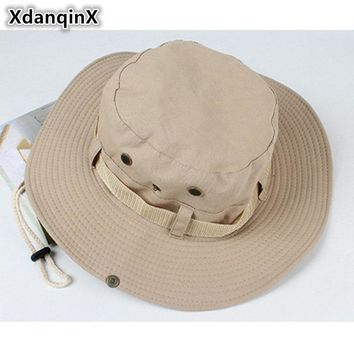 XdanqinX Unisex Summer Fashion Bucket Hats Adjustable Size Mesh Breathable Jungle Benny Hat Wind Rope Fixed Sun Hat For Men
