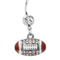 American Football Belly Button Ring 14G Dangle Sexy CZ Body Piercing Barbell