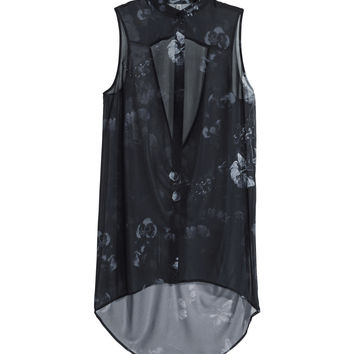 H&M - Sleeveless Chiffon Blouse - Dark gray - Ladies