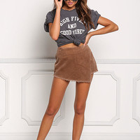Tan Corduroy Layered High Rise Skort
