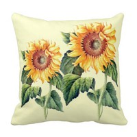 Country Sunflowers Vintage Summer Botanical Throw Pillows